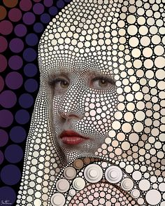 creative portraiture: ••Lady GaGa•• by ©Ben Heine 2014-06 • digital, yes, but drawn manually by placing circles one by one! • info@benheine.com
