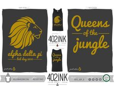 #402ink #402style 402ink, Custom Apparel, Greek T-shirts, Sorority T-shirts, Fraternity T-shirts, Greek Tanks, Custom Greek Apparel, Screen printed apparel, embroidered apparel, Sorority, ADPI, Alpha Delta Pi, Bid Day, Jungle Theme, Queens of the Jungle
