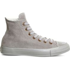 CONVERSE All star hi suede trainers ($85) ❤ liked on Polyvore featuring shoes, sneakers, ash grey rose gold, suede high top sneakers, suede lace up shoes, round toe sneakers, suede shoes and lace up shoes