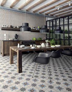 Une cuisine campagne qui fait la part belle aux carreaux de ciment