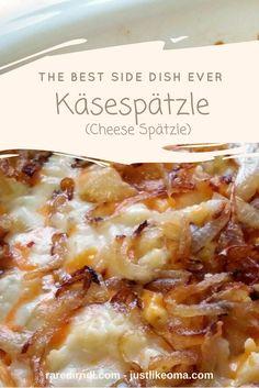 Käsespätzle – Cheese Spätzle: the best side dish ever - Spatzle German Side Dishes, Best Side Dishes, Holiday Side Dishes, Main Dishes, Spetzel Recipe, Czech Recipes, Ethnic Recipes, Austrian Recipes, German Recipes