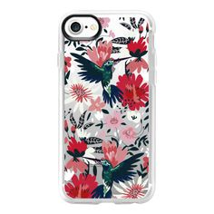 Hummingbird on Florals - iPhone 7 Case And Cover (130 PEN) ❤ liked on Polyvore featuring accessories, tech accessories, iphone case, phone case, floral iphone case, apple iphone case, iphone cases, clear floral iphone case and iphone cover case