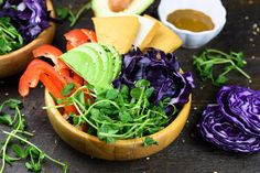 The Dragon Bowl contains all the necessary ingredients to provide sustained energy. Dragon Bowl, Healthy Recipes, Cantaloupe, Cabbage, Favorite Recipes, Vegan, Fruit, Vegetables, Live