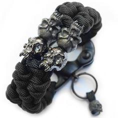 2 - Hematite Fang Skulls 2 - Black Oxidized Fang Skulls 1 - Joe Skull on Cord Pull Triple Snake...