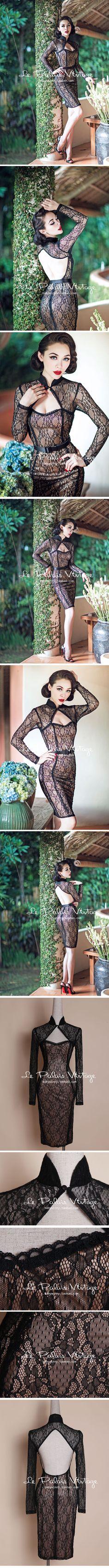 le palais vintage限量複古黑色蕾絲性感透視低胸露背緊身旗袍0.2-淘寶台灣,萬能的淘寶