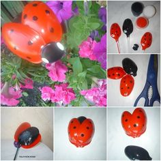 How to DIY Plastic Spoon Ladybug for Your Garden | www.FabArtDIY.com  #Crafts