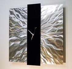 Large Modern Silver Black Metal Wall Art Decor Sculpture Elegant Mechanism  Clock