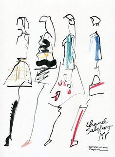 miyuki ohashi drawing etcetra — CHANEL Presentation of the Paris-Salzburg. Paris Illustration, Fashion Illustration Sketches, Fashion Sketchbook, Fashion Design Sketches, Fashion Drawings, Fashion Art, Unique Drawings, Fashion Figures, Fashion Portfolio