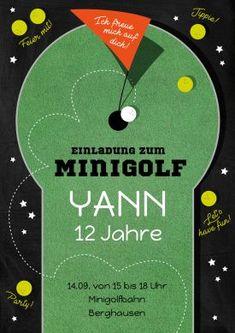 Tolle Einladungskarte Zum Kindergeburtstag Mit Minigolf Motiv. #minigolf #