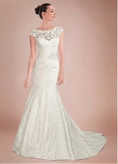 Glamorous Lace&Satin Mermaid Illusion High Neckline Natural Waistline Wedding Dress