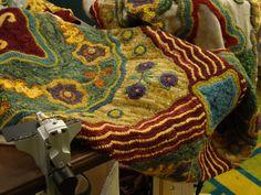 The Green Mountain Rug Hooking Guild Summer hook-in. The Pattern Is called Kats Garden Runner