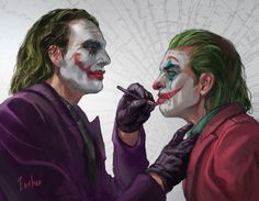 """Hi, I'm Inshoo Artist! These are two Jokers who watched the movie """"Joker"""" and painted it because they thought it would have been nice to see a real cookie video like this. Hezreger Joker meant """"passing Joker Batman, Batman Comic Art, Joker Art, Gotham Batman, Batman Robin, Joker Cartoon, The Joker, Joker Comic, Harley Quinn"""
