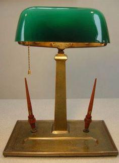Emeralite Partners Desk Lamp with 4 Inkwells | Partners desk, Desk ...