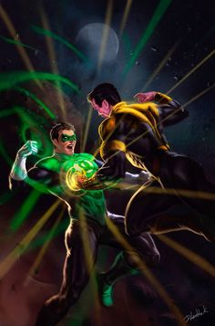 Green Lantern vs Sinestro by dleoblack