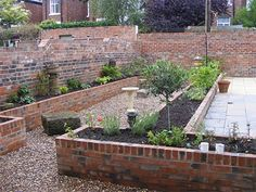 Long raised beds built of brick.