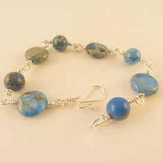 Blue Impression Jasper hand wired bracelet, sterling silver | JosiannesJewelry - Jewelry on ArtFire