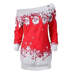 Womens Christmas Jumper,Ladies Winter Autumn Long Sleeve Off Should Tops Sweater Fashion Oversize Cold Should T-shirt Casual Santa Printing O Neck Blouse Jumpers (Red)