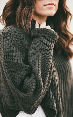 Green Knit Cropped Turtleneck Sweater