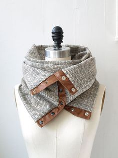 Cream and charcoal  circular infinity scarf by System63 on Etsy, $75.00 | going on my Christmas list...love this!!