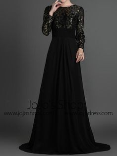 Apr 2020 - Black Modest Long Sleeves Formal Prom Evening Dress – JoJo Shop Evening Gowns With Sleeves, Formal Dresses With Sleeves, Modest Dresses, Church Dresses, Black Lace Bridesmaid Dress, Black Wedding Dresses, Beautiful Evening Gowns, Mode Hijab, Formal Prom