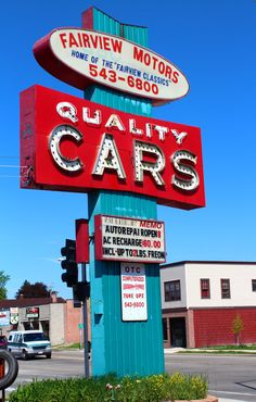 Retro Vintage Turquoise Blue Red Car Repair Shop by RoseClearfield, $10.00