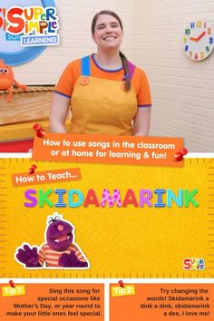 Caitie demonstrates the gestures and shares some activity ideas for the song Skidamarink. Perfect for ESL, EFL, preschool, and kindergarten classes! Preschool Songs, Kids Songs, Toddler Preschool, Fun Learning, Teaching Kids, Teaching Emotions, Childcare Activities, English Language Learners, Kindergarten Class