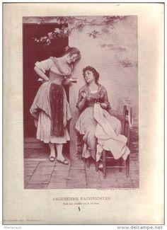 """Angenehme Nachrichten  - Druck, entnommen   aus """"die Gartenlaube"""", 1897"""