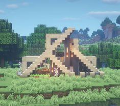 Minecraft Roof, Minecraft Starter House, Casa Medieval Minecraft, Modern Minecraft Houses, Minecraft Plans, Minecraft Survival, Minecraft Construction, Minecraft Tutorial, Minecraft Architecture