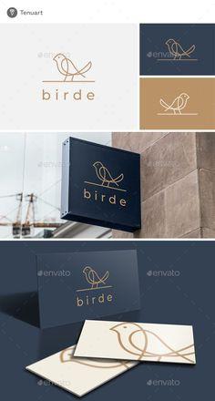 Birde Logo: Animal Logo Design Template by Tenuart. Presentation Logo, Logo Inspiration, Restaurant Logo, Gift Logo, Bird Logos, Web Design, Animal Logo, Brand Identity Design, Creative Logo