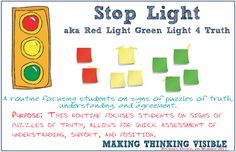 Visible Thinking Routine: Red Light, Green Light of Truth                                                                                                                                                      More