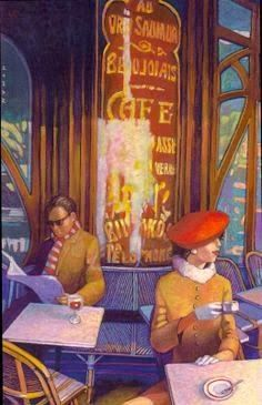 Reading and Art: Miles Hyman Graffiti, Art Drawings, Coffee Art, Cafe Art, Painting, Vintage Illustration Art, Illustration Art, Art, Night Illustration