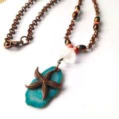 Blue Agate Necklace with Starfish Pendant by MeyerClarkCreative