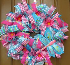 Your place to buy and sell all things handmade – Spring Wreath İdeas. Outdoor Wreaths, Outdoor Christmas Decorations, Deco Mesh Wreaths, Ribbon Wreaths, Flip Flop Wreaths, Summer Deco, Diy Spring Wreath, Trendy Tree, Floral Centerpieces