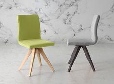 Esta silla con patas en madera de haya, puede ser el complemento ideal para tu mesa de comedor. Disponible en varios tapizados.
