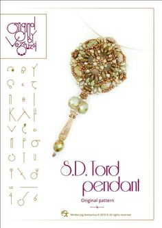 Pendant tutorial / pattern S.D. Tord with superduo beads. ..PDF instruction for personal use only