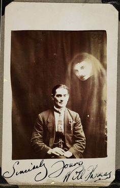 A signed spiritualist photo... signed by the medium, not the ghost. ca. 1920.