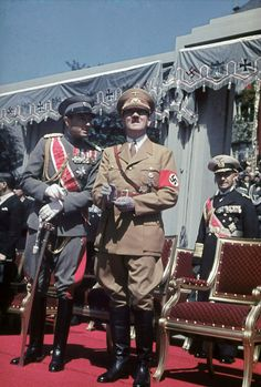 1939 June 2 Hitler with Prince Regent Paul of Yugoslavia watch a wehrmacht parade with other officers and diplomats
