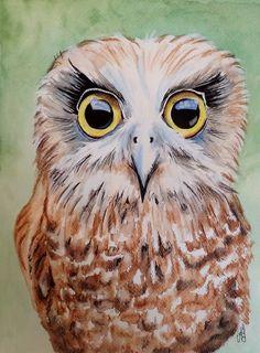 Southern Boobook Owl Watercolour, ink. acrylic 30cm x 21cm