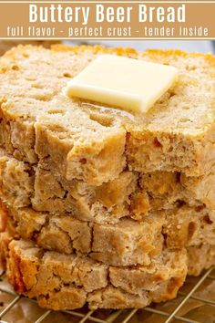 Easy Buttery Beer Bread Recipe – Make Bread Without Yeast! This flavorful Buttery Beer Bread is incredibly easy to make with just a few quick bread ingredients. It bakes up with a perfect crust and tender inside! Quick Bread Recipes, Beer Recipes, Baking Recipes, Homemade Bread Without Yeast, Homemade Breads, Biscuit Bread, Bread Ingredients, Dessert Bread, Sweet Bread