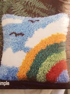 Sew Simple Latch Hook Kit Rainbow T522 Birds Peace Sky Pride Pillow. I want to do this