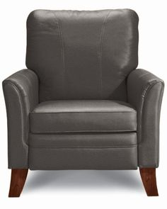 Grey Leather Recliner Condo Living Room Chairs Lounge Rooms