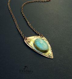 Collar de cobre y Latón/ Copper - Brass necklace and natural stone.