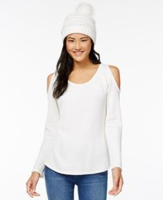 Self E Juniors' Waffle-Knit Cold-Shoulder Top & Faux Fur-Trimmed Beanie - Ivory/Cream XL