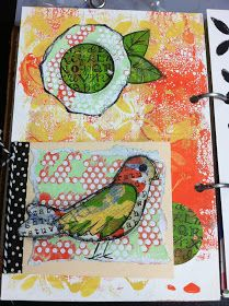 Lucy's Lampshade: Gelli printed art journal page