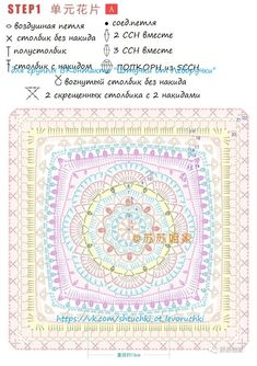 Granny Square Crochet Pattern, Crochet Chart, Crochet Squares, Crochet Motif, Crochet Stitches, Knit Crochet, Crochet Patterns, Granny Squares, Cross Stitch Rose