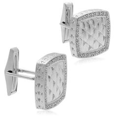 Amazon.com: Men's Sterling Silver Weave Textured Diamond Cuff Links (1/6 cttw, I-J Color, I2-I3 Clarity): Jewelry