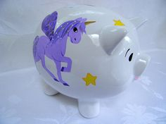 Unicorns Piggy bank personalized piggy bank @ thepiggybankshop on Etsy