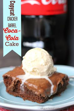Copycat Cracker Barrel Coca-Cola Cake.    If you're a Cracker Barrel fan like me, you're sure to love this oh-so addicting copycat Coca-Cola Cake!  It's absolutely phenomenal!  A melty, chocolate-saturated frosting atop a rich chocolate cake, both infused with Coca-Cola, then topped with a scoop of vanilla ice cream!  It's heaven on a plate!
