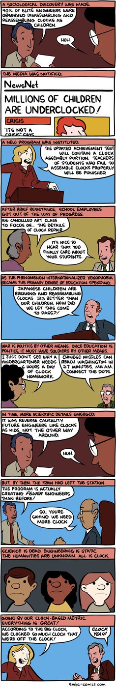A comic impression of education policy and curriculum in America.