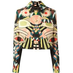 Givenchy 'Crazy Cleopatra' grain de poudre jacket (489.535 RUB) found on Polyvore featuring women's fashion, outerwear, jackets, multicolor, colorful jackets, straight jacket, multi colored jacket, long sleeve crop jacket and givenchy jacket